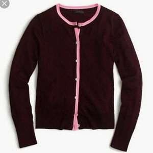 J. Crew Red Merino Wool Jackie Cardigan Sweater